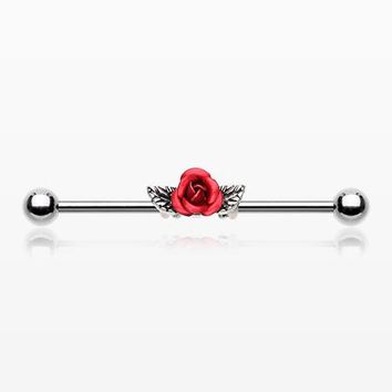 Vintage Red Rose Industrial Barbell