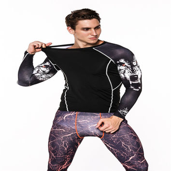 Muscle Men's Compression T-shirt Long Sleeves Wolf head Prints MMA Rashguard Fitness Base Layer Weight Lifting