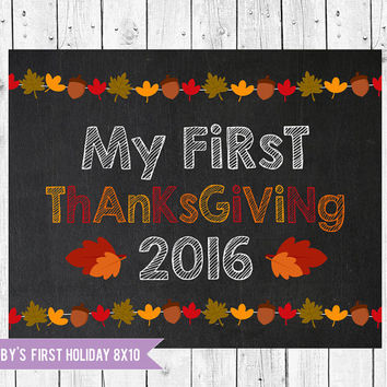 First Thanksgiving Photo Prop, Baby's First Thanksgiving Chalkboard Sign 8x10, My 1st Thanksgiving, Instant Download JPEG Printable