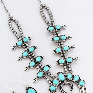 Turquoise Beaded Squash Blossom Necklace and Earring Set