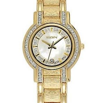 Elgin Women's EG330SP Goldtone Crystal White Round Face Dress Watch