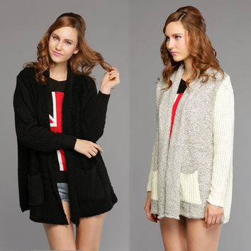 Splice Knitted Sweaters Cardigan Coat