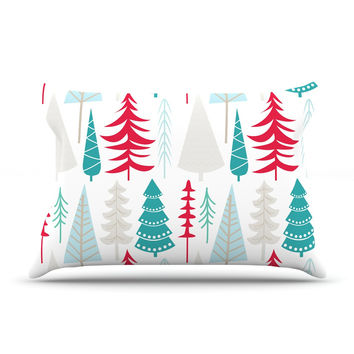 "KESS Original ""Happy Forest Red"" Blue Pillow Case"
