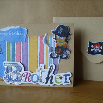 Brother  Birthday Card - Pirate and Parrot