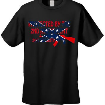 Men's Rebel Flag T-Shirt Protected By The 2nd Amendment Short Sleeve Tee