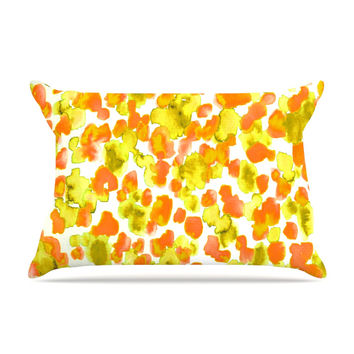 "Ebi Emporium ""Giraffe Spots - Orange"" Orange Yellow Pillow Case"