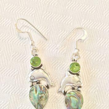 Dolphin semi precious sterling silver earrings