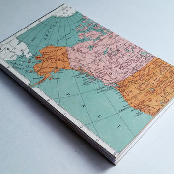 Four subject Geography/Social Studies/Topography themed 80 paged blank journal with pocket dividers 5 1/2 X 8 1/2