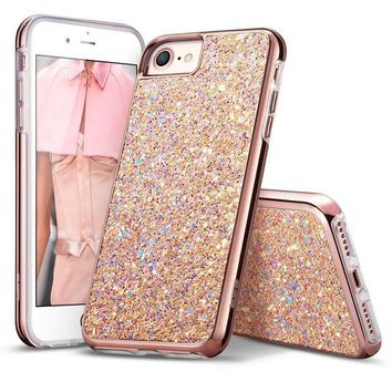VONEIR6 iPhone 7 Case,iPhone 6 Case,ESR Bling Glitter Sparkle Dual Layer Shockproof Hard PC Back + Soft TPU Inner Shell Skin for 4.7' iPhone 7/6(Metallic Peach)