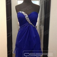 Blue Short/Mini Chiffon Party  Homecoming Cocktail Prom Gown Bridesmaids Dress