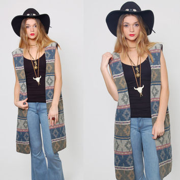 Vintage 80s SOUTHWESTERN Vest TRIBAL Boho Duster One Size Long NATIVE Vest Layering Piece
