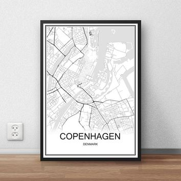 World City Map COPENHAGEN Denmark Print Poster Abstract Coated Paper Bar Cafe Pub Living Room Home Decor Wall Sticker 42x30cm