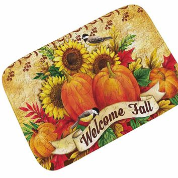 Autumn Fall welcome door mat doormat Honlaker Retro Rustic Style  Home Decoration  Water Absorption Non-slip Bathroom Entrance Mat Coffee Table Mat AT_76_7