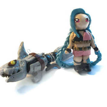 Jinx Get Jinxed - League of Legends Keychain - Polymer Clay - Miniature - Figurine Lol - Video Game accessories - Geek Perfect Gift - Gamer