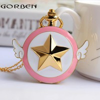 Japanese Cartoon Cardcaptor Sakura Scepter Quartz Pocket Watch Anime Star Wings Magic Necklace Chain Girls Ladies watches gifts