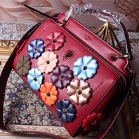 FENDI FLOWERS LEATHER HANGBAG SHOULDER BAG