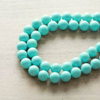 "Shell Pearl Beads - 50 pcs Unique Shell Pearl Beads - Grade ""A"" - Polished - Dyed - Turquoise - Round - 8mm"