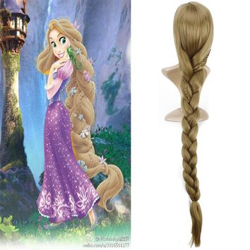 Women Princess Rapunzel Golden Wig Halloween Role Play Tangled gold long Ponytail Costume
