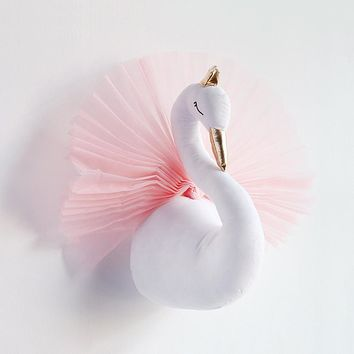 Cute 3D Golden Crown Swan Wall Art Hanging Girl Swan Doll Stuffed Toy Animal Head Wall Decor for Kids Room Birthday Wedding Gift