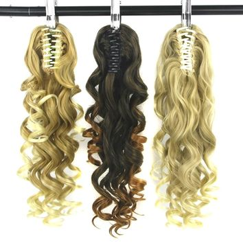 Soowee Curly Synthetic Hair Clip In Hair Extensions Pony Tail Blonde Black Claw Ponytail Hair on Hairpins Horse Fairy Tail