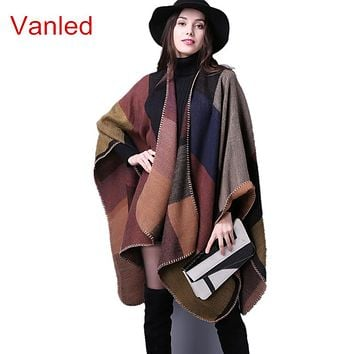 brand poncho and capes women winter scarf shawl ladies Vintage plaid Blanket knit wrap Cashmere female echarpe pashmina poncho