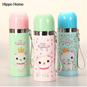 Hippo Home Cartoon Cat Children Thermos Cup Thermo Mug Kids Water Bottle Stainless Steel Vacuum Flask insulated Thermal Tumbler