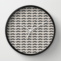 I MUSTACHE YOU A QUESTION Wall Clock by Allyson Johnson