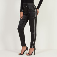 Contrast Stripe Satin Jogger - Black