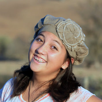 Tan 100% Cotton Upcycled Sweater Hat / Tam with Shabby Flower