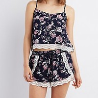 CROCHET-TRIM PRINTED CROP TOP