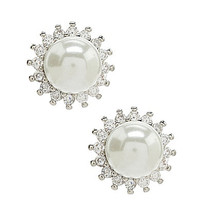 Dillard's Boxed Pave Pearl Stud Earrings
