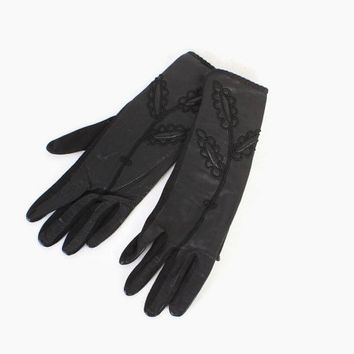 Vintage 50s Leather GLOVES / 1950s Black Leather & Cotton Soutache and Trapunto Floral Gloves