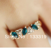Gold/Silver Plated Emerald Crystal Green Ring Women Jewelry Gift Love 2 Colors