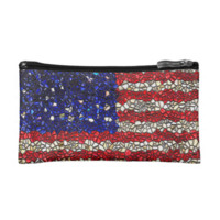 American Flag Mosaic Makeup Bag
