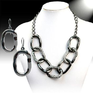 """16"""" crystal paved bib chain link choker ring necklace 1"""" earrings"""
