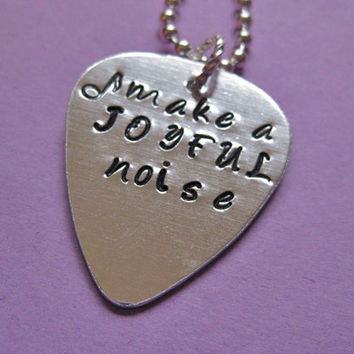 Custom Guitar Pick Handstamped necklace - Custom Hand Stamped necklace personalized for you - perfect for a musician