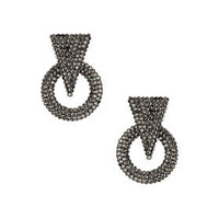Large Circle Rhinestone Drop Earrings - Brown