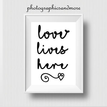Love Lives Here, Instant Download, PNG, JPG, Files, 4x6, 8x10, 12x16, A3, Transparent, Typography, Text, Overlay, Print, Printable, Wall Art