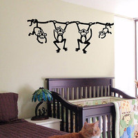 KIDS WALL ART STICKER BABY ROOM NURSERY BOY GIRL BEDROOM FUNNY MONKEY 23