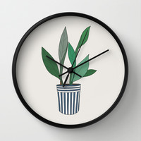 Plant art print Wall Clock by uzualsunday