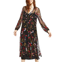 2017 Floral Embroidered long Dress women Sexy Mesh V neck Split maxi dress Vintage long sleeve Black summer beach dress Vestidos