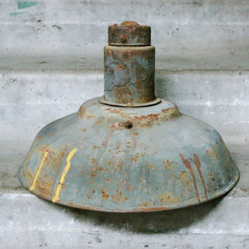 Industrial Pendant Light / 1940's Soviet Vintage Large 16'' Rustic Barn / Hanging / Mounted Farmhouse Metal Street Lamp Shade