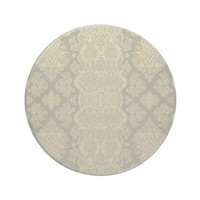 Lacy Vintage Floral Yellow and Gray Beverage Coaster