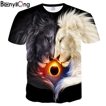 BIANYILONG Mr.1991INC Fashion Brand T-shirt Men/Women Summer 3d Tshirt Print Yin and Yang lion T shirt Tops Tees