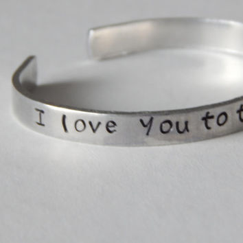 I Love You To The Moon And Back Cuff Bracelet Toy Story Inspired