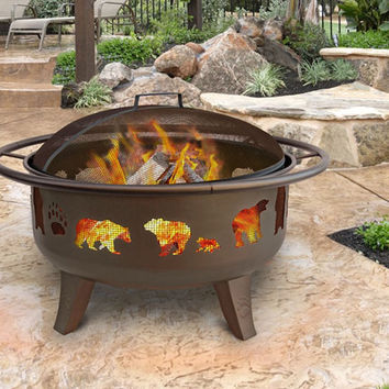 3 Foot Bear Paw Wood Burning Fire Pit With Cooking Grate