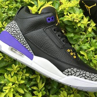 Air Jordan 3 nike logo black purple  Basketball Shoes 40-47