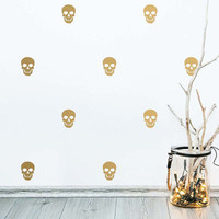 Skull Wall Decals - Modern Wall Decals, Cute Wall Stickers, Skull Decals, Gold Decals, Removable Wall Decor, Skull Stickers