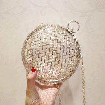 Family Friends party Board game Hollow Metal Ball women shoulder bag gold Cages Women Round Clutch bag Evening Ladies Luxury Wedding Party Bags CrossBody Purse AT_41_3