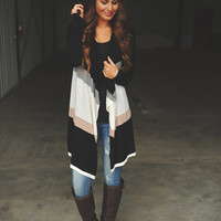 Black Color Block Cardigan